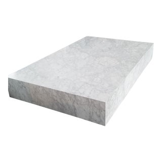 Modern Restoration Hardware White Marble Plinth Coffee Table For Sale
