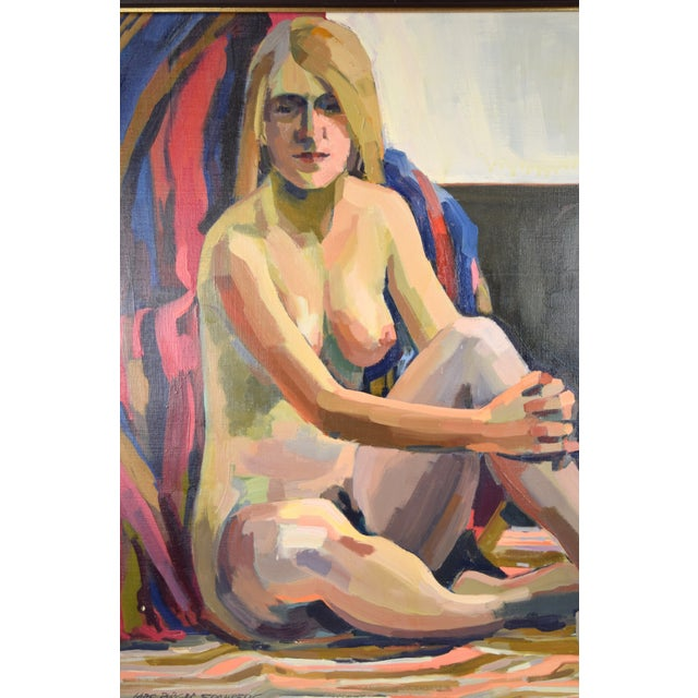 """Expressionism 1970s """"Nude Blonde Woman"""" Oil Painting by Lars Birger Sponberg For Sale - Image 3 of 8"""