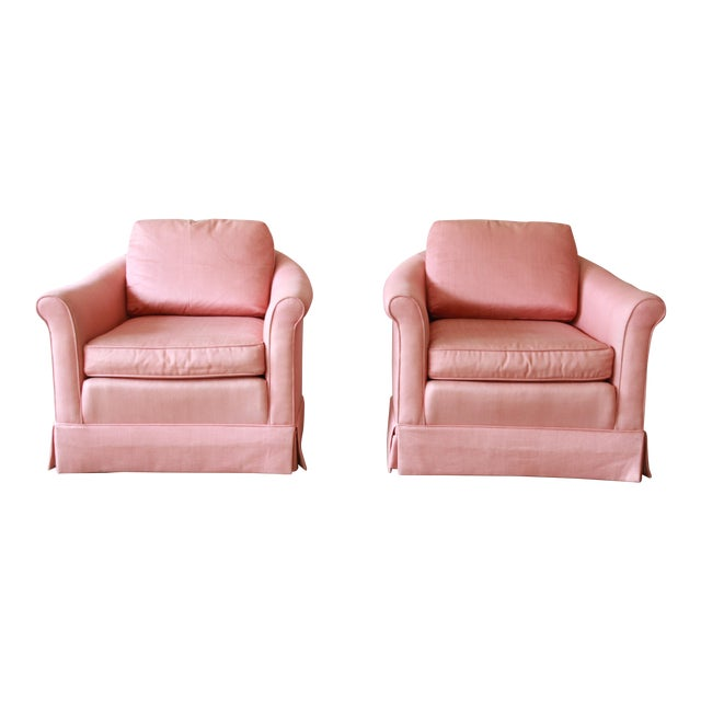 Vintage Baker Furniture Pink Lounge Chairs - a Pair | Chairish