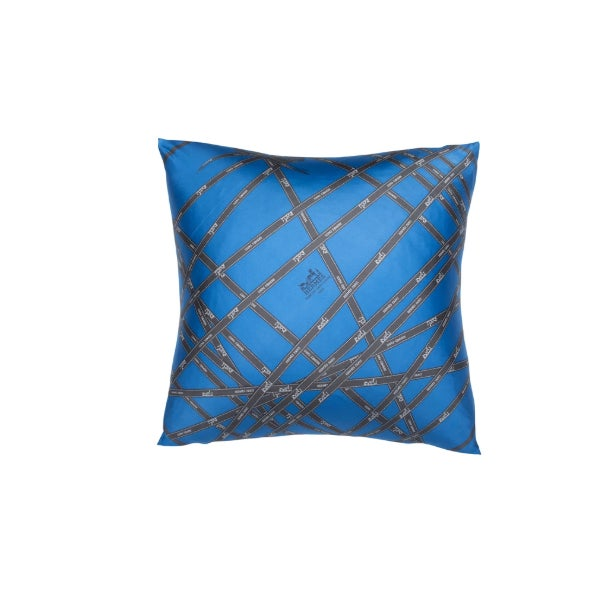 """Contemporary """"Bolduc Ribbon"""" Hermès Silk Scarf Pillow For Sale - Image 3 of 3"""