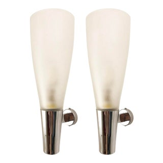 Mid-Century Frosted Glass and Nickel Sconces by Pietro Chiesa for Fontana Arte - a Pair For Sale