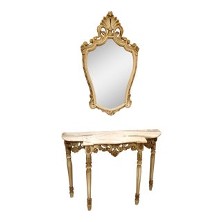 Set W/Console Marble Top Gilt Wood Table & Mirror, Louis XV Style, France 1920s For Sale