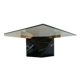 1980s Postmodern Black Marble Artedi Coffee Table For Sale