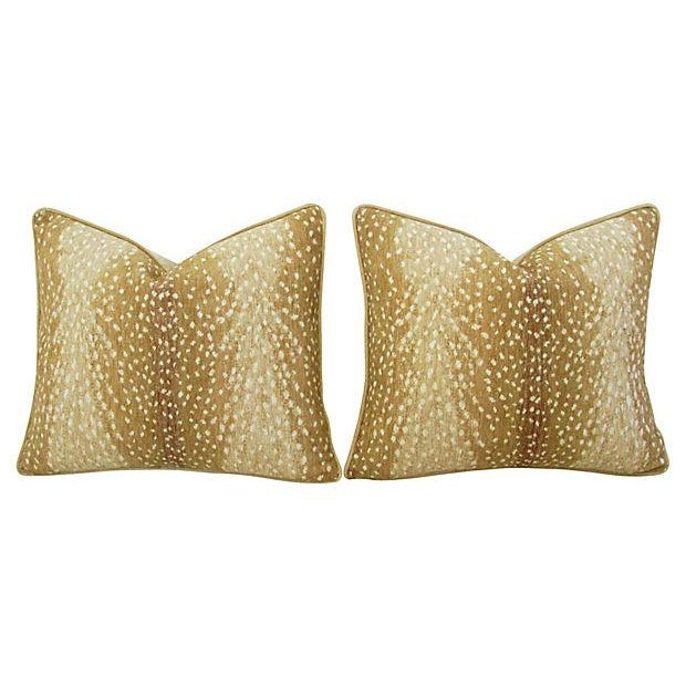"Wild Animal Antelope Deer Fawn Velvet Feather/Down Pillows 21"" X 18"" - Pair For Sale - Image 4 of 6"