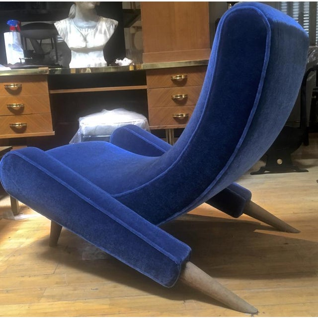 "Blue Jean Royere Stunning Documented Pair of Lounge Chairs Model ""Varsano"" For Sale - Image 8 of 13"