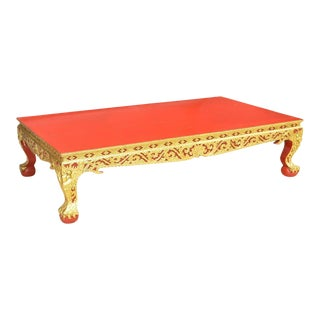Thai Parcel Gilt and Red Lacquered Low Table For Sale