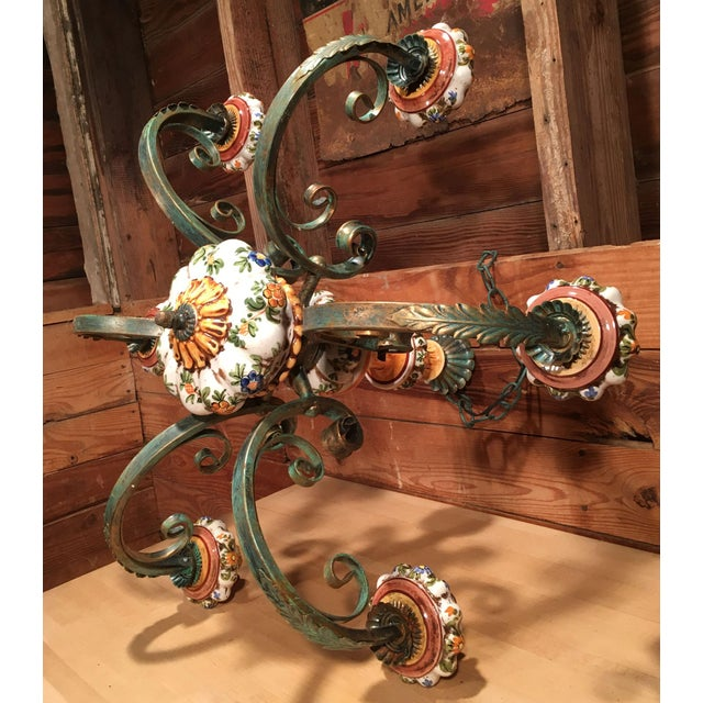 Metal Vintage Italian Tole Painted Pottery Chandelier For Sale - Image 7 of 8