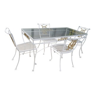 Wrought Iron & Aluminum Dining Table & 4 White & Gold Lyre Back Chairs For Sale