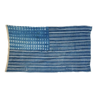 "Boho Chic Indigo Blue & White Flag From African Textiles 62"" X 36"" For Sale"