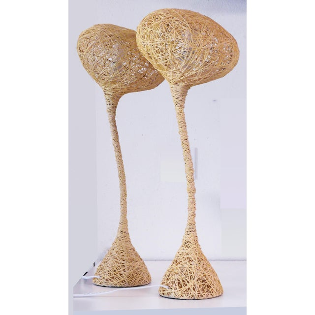 1970s Spun String Lamps - a Pair For Sale - Image 5 of 8