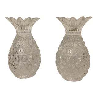 1980s Crystal Pineapple Candleholders - a Pair For Sale
