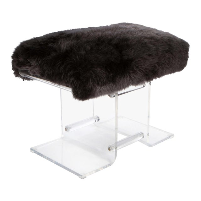 1980s Lucite & Fur Bench For Sale