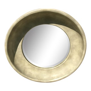 Mid Century Goatskin Circular Wall Mirror For Sale