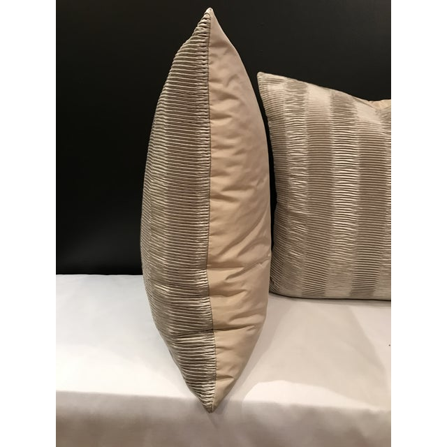 Italian Italian Kravet Couture Metallic Pleat Pillows - a Pair For Sale - Image 3 of 6