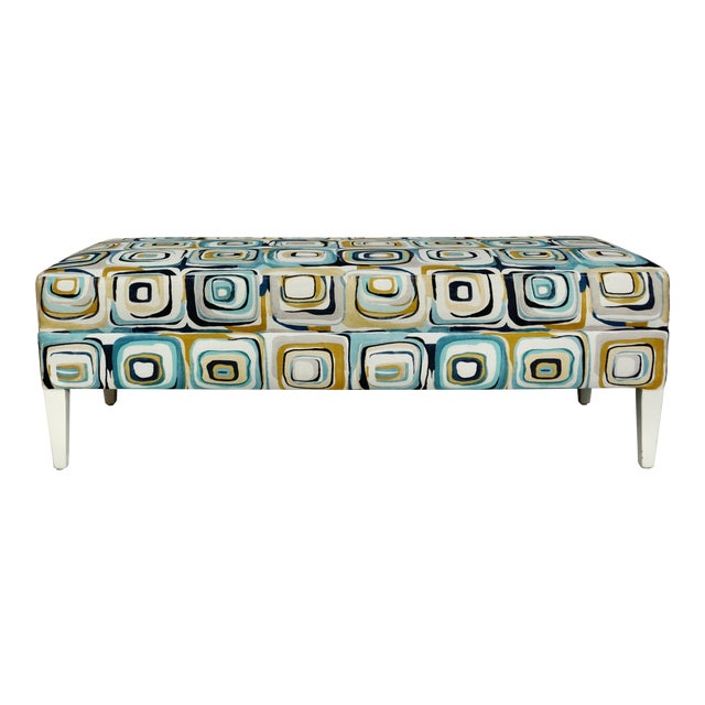 Abstract Blue & Tan Upholstered Bench For Sale
