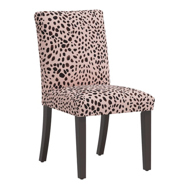 Dining Chair in Washed Cheetah Pink Black For Sale