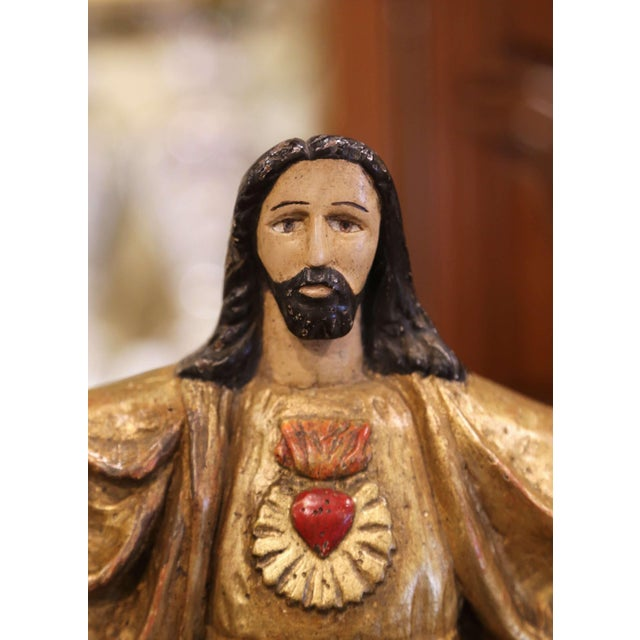 """Metal 18th Century Spanish Carved Polychrome Gilt Statue of Christ With """"Sacred Heart"""" For Sale - Image 7 of 13"""