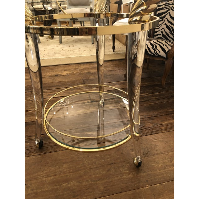 French Lucite and Gold Plated Round Bar Cart For Sale - Image 4 of 12