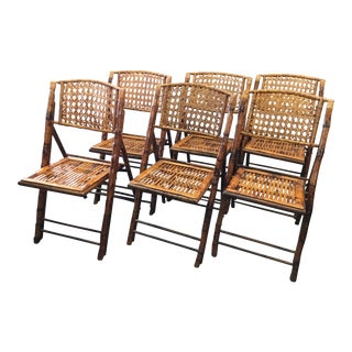 1970s Boho Chic Burnt Bamboo With Cane Back Folding Chairs - Set of 6 For Sale