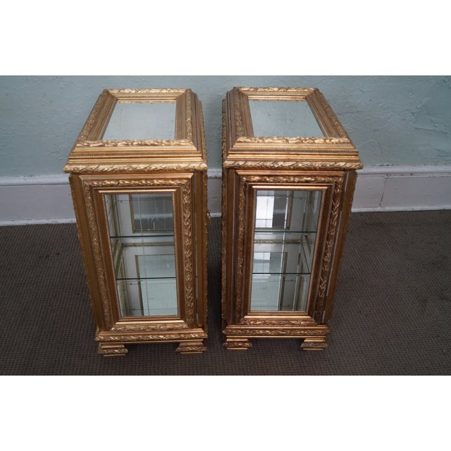 Gilt French Louis XV Vitrine End Tables - Pair - Image 7 of 10