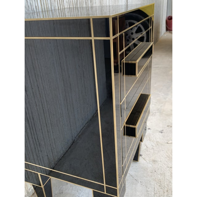 New Pair of Mirrored Nightstands in Black Mirror With Two Drawers For Sale - Image 10 of 13