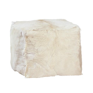 White Fur Square Pouf For Sale