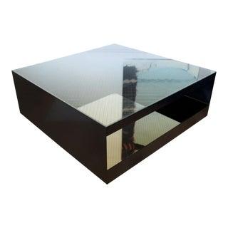 1980's Modernist Minimal Glass & Black Coffee Table Joseph d'Urso for Knoll For Sale