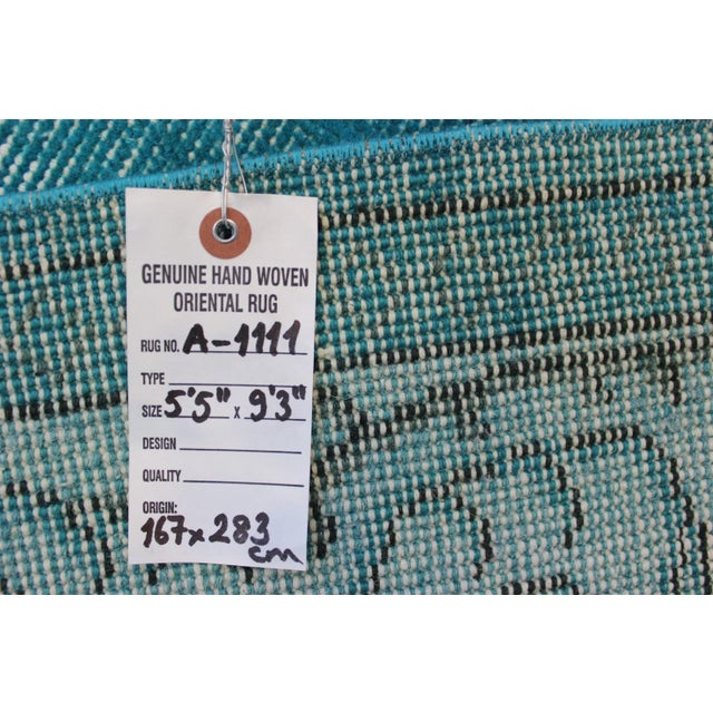 Turkish Over-Dyed Turquoise Rug - 5′5″ × 9′3″ - Image 11 of 11