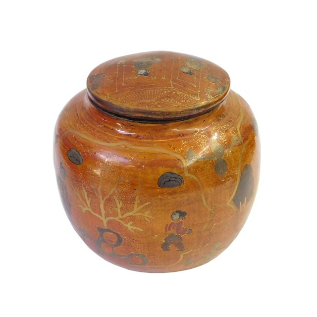 Chinese Brown Lacquer Painted Container - Image 2 of 8
