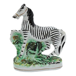 Antique Staffordshire Prancing Zebra For Sale
