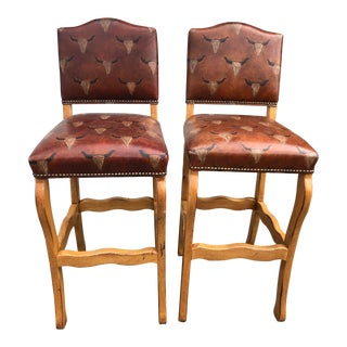 Lorts Custom Made Leather Seat Bar Stools- a Pair For Sale