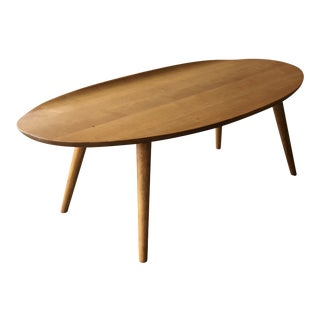 Mid Century Modern Conant Ball Oval Surfboard Coffee Table Solid Birch Wood - Leslie Diamond Russell Wright Danish Style For Sale