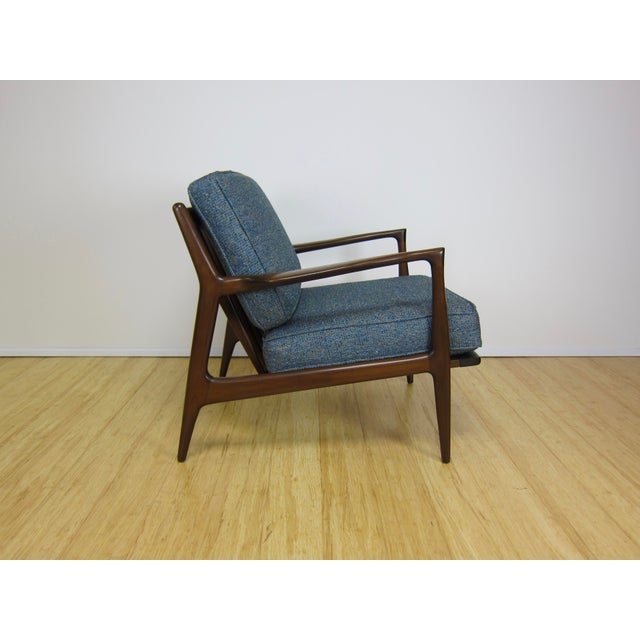 Danish Modern 1960s Mid-Century Modern Ib Kofod Larsen for Selig Walnut Lounge Chair For Sale - Image 3 of 11