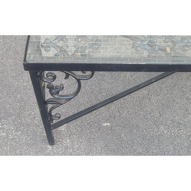 French Heavy Wrought Iron Glass Top Coffee Table ~ Fabricated From Old French Gate, 50 X 29.5 ~1990s For Sale - Image 3 of 13