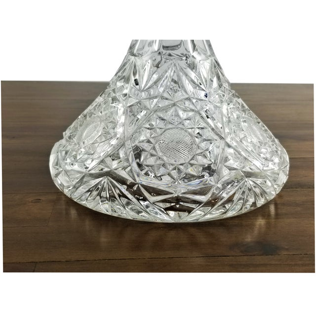 Traditional Mid 20th Century Vintage Hour Glass Lead Crystal Hand Cut Decanter For Sale - Image 3 of 11