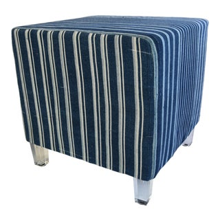 Custom-Made Blue & White African Textile Ottoman Pouf Coffee Table W/ Lucite Legs For Sale