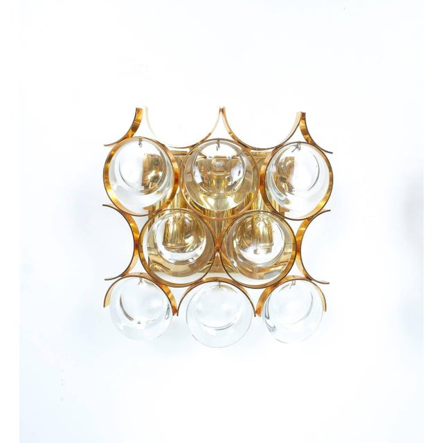 Mid-Century Modern Pair of Gilded Brass and Crystal Sconces by Palwa For Sale - Image 3 of 7