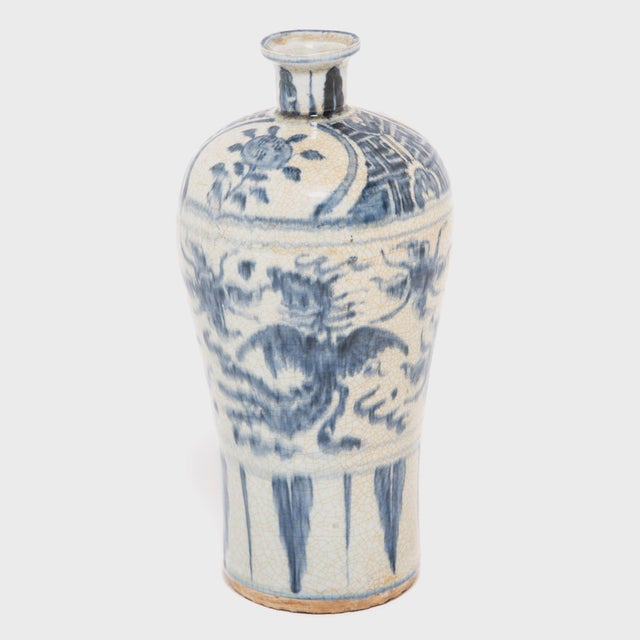 Asian Chinese Crackled Blue and White Vase For Sale - Image 3 of 7