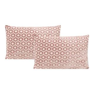 "12"" X 18"" Blush Paloma Cut Velvet Lumbar Pillows - a Pair For Sale"