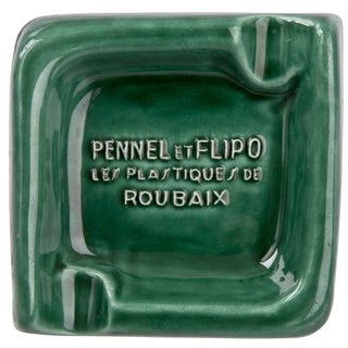 French Pennel Et Flipo Green Porcelain Ashtray