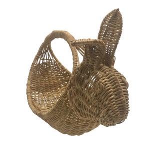 1970s Vintage Wicker Bunny Basket For Sale