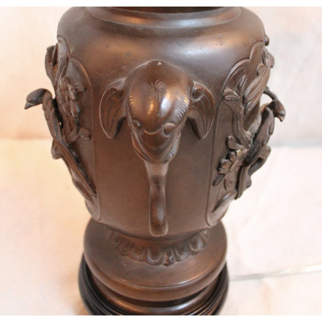 Vintage Japanese Bronze Vase Lamp - Image 6 of 8