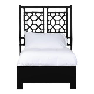 Lattice Back Bed Twin - Black For Sale