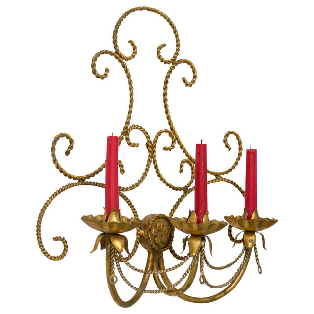 Hollywood Regency Italian Gilded Tole 3-Candle Wall Sconce For Sale - Image 3 of 6
