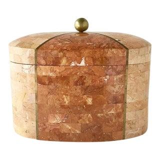 Maitland Smith Oval Stone Veneered Box 1970s For Sale