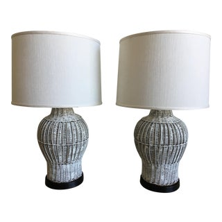 Mid-Century Wicker Ginger Jar Lamps - a Pair For Sale