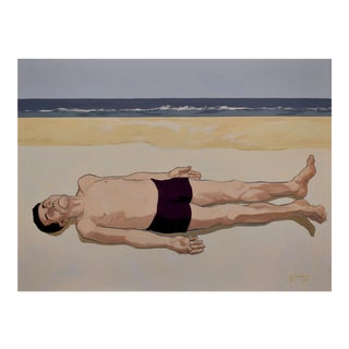 'Ralph' on Keawakapu Beach - a Large Oil on Canvas by Contemporary Expressionist George Brinner For Sale