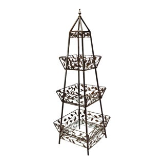 Vintage Wrought Iron Folding Display Stand Obelisk Etagere