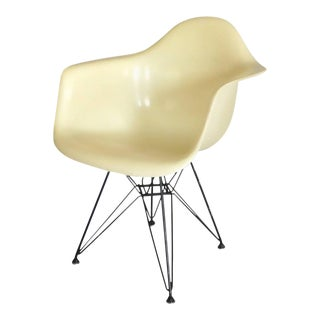 Early Large Biscuit Eames Zenith Ivory Dar Fiberglass Chair on Eiffel Tower Base
