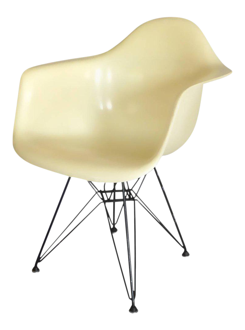 Early Large Biscuit Eames Zenith Ivory Dar Fiberglass Chair On Eiffel Tower  Base   Image 1